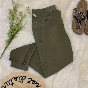 Paige Marley Moto skinny jeans fatigue green 32